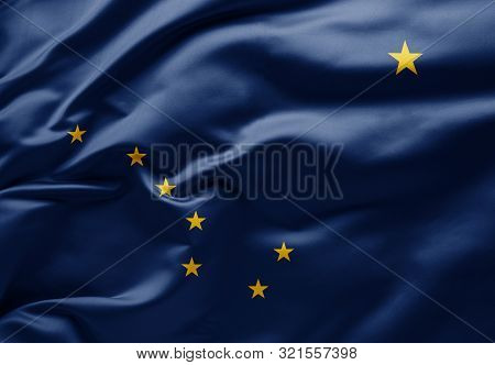 Waving State Flag Of Alaska - United States Of America
