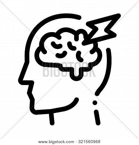 Brain Lightning Volt Silhouette Headache Vector Icon Thin Line. Tension And Cluster Headache, Migrai