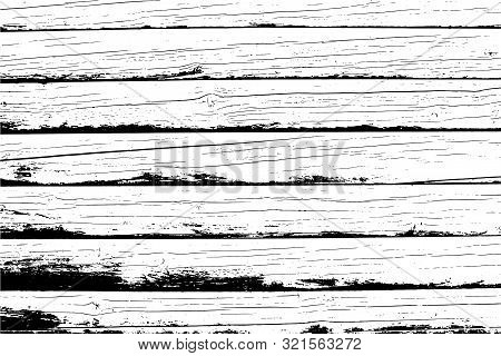 Old Wooden Wall, Horizontal Planks. Vector Detailed Wood Texture. Abstract Background.