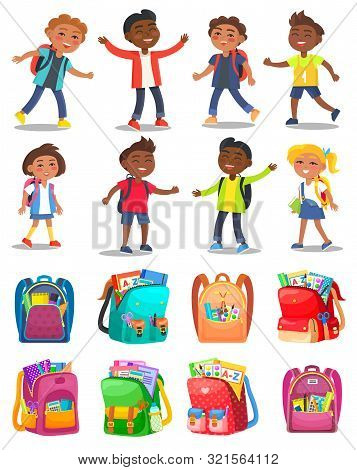 Pupils Characters With Backpack, School Bag With Notebook And Pencil, Paints And Tassels. Smiling Ch