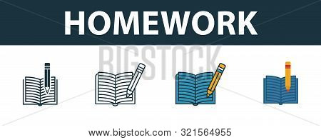 Homework Icon Set. Four Elements In Diferent Styles From School Icons Collection. Creative Homework