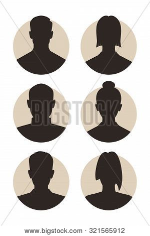 Set Signs Mens And Womens Avatar. Icons Male And Female Silhouettes. Profiles Abstract People. Unkno