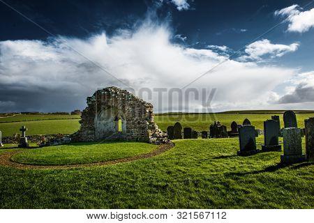 The Round Church of St Nicholas at Earl's Bu, near Orphir. Orkney Mainland, Scotland, UK