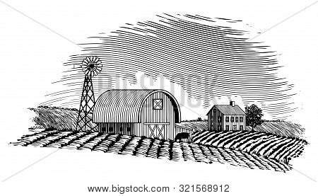 Woodcut Style Illustration Of A Farm Scene With A Windmill.