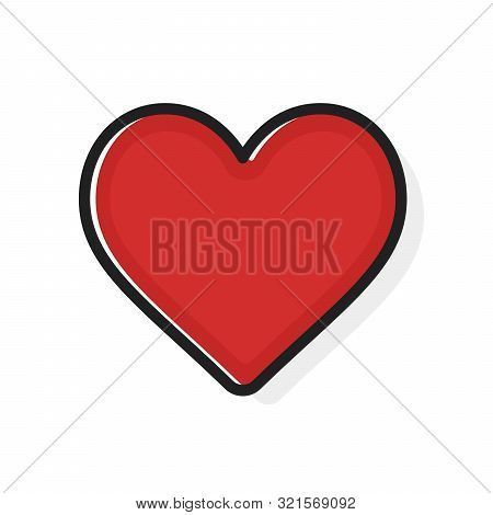 Like And Heart Icon. Flat Outline Style. Live Stream Video, Chat, Likes. Social Nets Like Red Heart