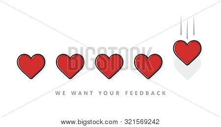 Giving Five Heart Rating. Review. Feedback, Satisfaction, Status Concept. Vector Illustration Flat S