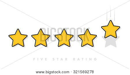 Five Yellow Rating Star Vector Illustration In White Background.
