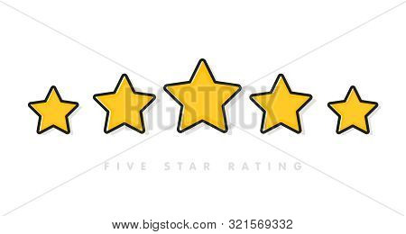 Five Yellow Rating Star Vector Illustration In White Background. 5 Star Rating Customer Product Revi