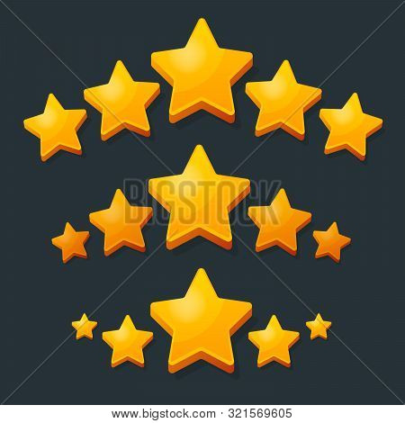 Five Stars Rating Gold Icon. 3d Cartoon Game Design Ui Elements. Win Prizes, Ratting, Award, Success