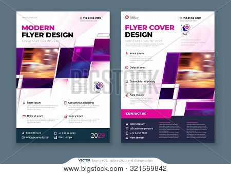 Purple Flyer Template Layout Design. Corporate Business Flyer Mockup. Creative Modern Bright Concept