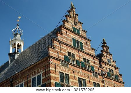 Close-up On The Top Of The City Hall (stadhuis, Built In 1601), With Carvings, Naarden, Netherlands.