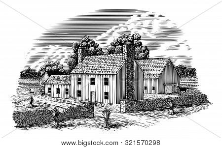Woodcut Illustration Of An English Farmhouse With Hay Stacks In The Field.