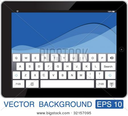vector illustration black touch-pad with keyboard