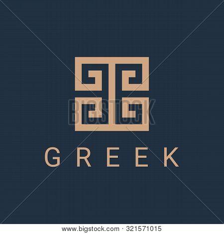 Greek Fret Logo Icon Design Template. Hellenic Linear Business Symbol Or Sign. Line Luxury Logotype.