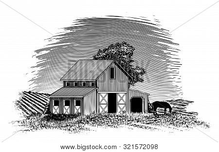 Woodcut-style Illustration Of A Barn With A Hors Grazing Nearby.