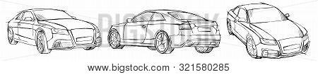 Hand Drawn Sketch Car Vector Set. Three-quarter View And Half-turn View. Pencil Design.