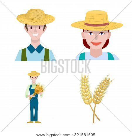 Vector Design Of Farm And Arable Symbol. Set Of Farm And Wheat Vector Icon For Stock.