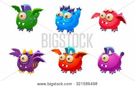Cute Colorful Little Glossy Fantastic Monsters Set, Funny Big Eyed Mutants Cartoon Characters Vector