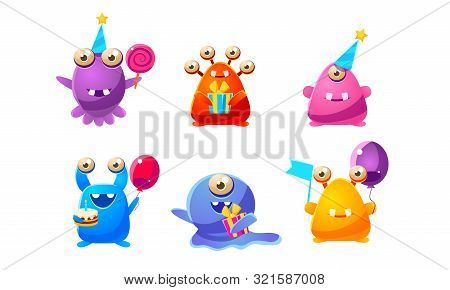 Collection Of Cute Funny Colorful Monsters Cartoon Characters, Happy Mutants Celebrating Party Vecto