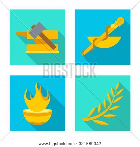 Isolated Object Of Deity And Antique Sign. Collection Of Deity And Myths Stock Symbol For Web.