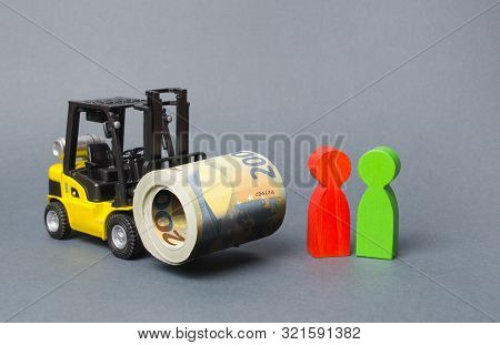 Yellow Forklift Truckcarries A Large Bundle Of Euros, A Customer And Seller. Investments, Preferenti