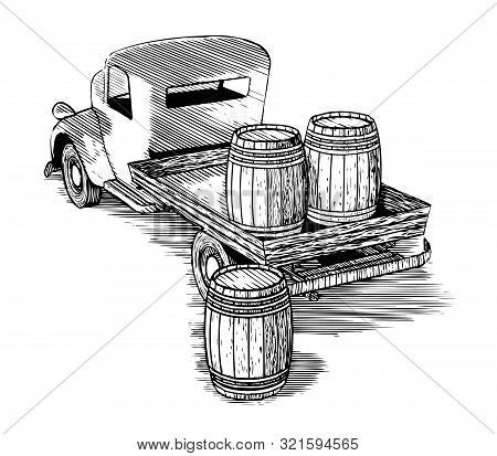 Woodcut Illustration Of An Old Flatbed Truck Carrying Wooden Barrels.