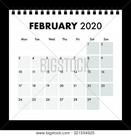 A February 2020 Calendar With A Wire Bind