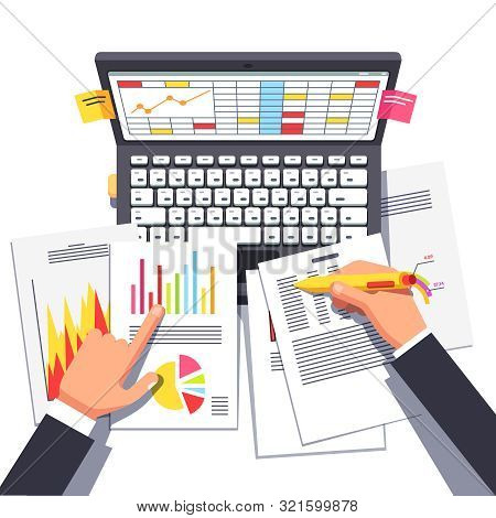 Business Analyst Or Auditor Working On Statistical Data Paper Document