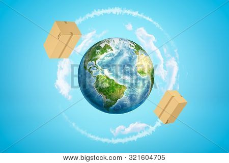 3d Rendering Of Earth Surrounded By White Clouds, And Two Big Cardboard Boxes Flying Around It In Bl