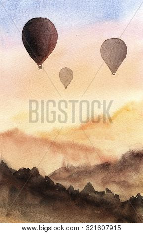 Hand Drawn Watercolor Landscape Background. Illustration With Silhouette Hot Air Balloon In Sunset S