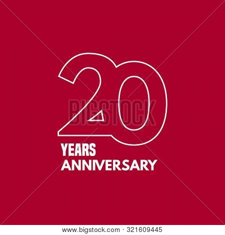 20 Years Anniversary Vector Icon, Logo. Graphic Design Element With Number And Text Composition For