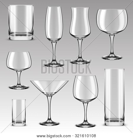 Set Of Isolated Drinking Glass For Alcohol Beverage And Drink Water. Goblet For Wine Tasting And Whi