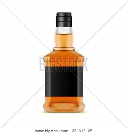 Whisky Bottle Or Glassware Jar Of Whiskey. Irish Scotch Or Bourbon, Liquor. Isolated Container For A