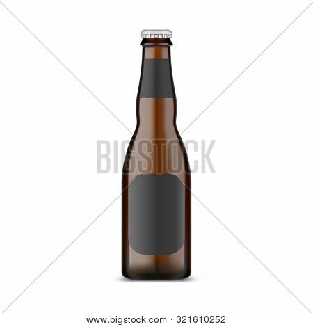 Glassware Craft Beer Bottle With Metallic Lid. Isolated Container With Dark Ale And Empty Label. Sto