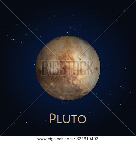 Dwarf Planet Pluto Icon. Ninth Sphere In Solar System Or Satellite Kuiper Belt. Sphere In Space Or C