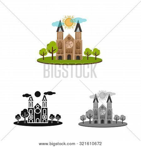 Vector Design Of Chapel And Vietnamese Icon. Set Of Chapel And Cathedral Stock Symbol For Web.