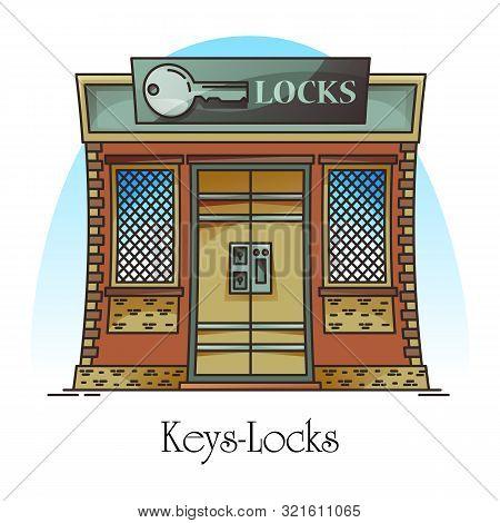 Key Shop Or Locks Store. Building For Keylock Retail Or Keyway Duplication, Electric Key And Locks C