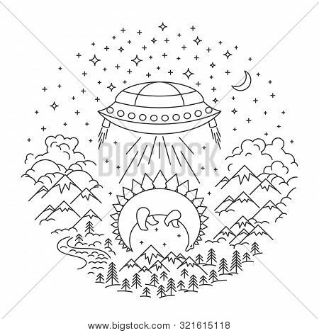 Ufo Stealing Dinosaur. Mountain And Hils, River And Forest Landscape On White Background. Hight Sky.