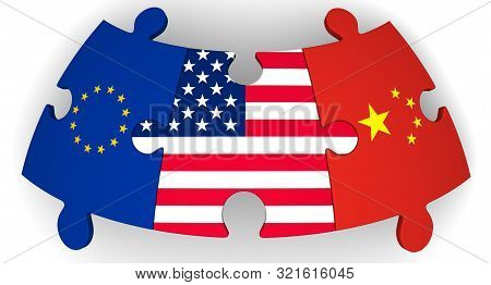 Cooperation Of Usa, European Union And China. Puzzles With Flags Of United States Of America, Europe