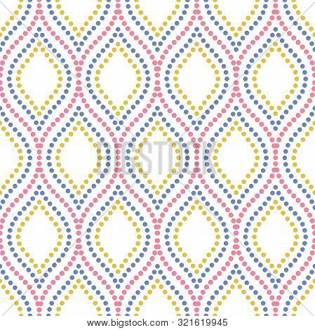 Seamless Vector Ornament. Modern Doted Colored Background. Geometric Modern Pattern