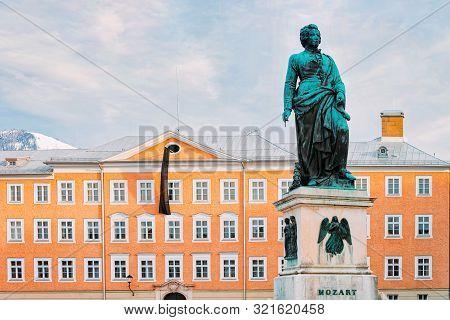 Mozart Monument On Mozartplatz Square In Old City Of Salzburg