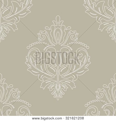 Orient Vector Classic Pattern. Seamless Abstract Background With Vintage White Dotted Elements. Orie