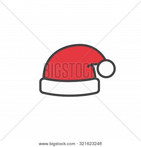 Santa Claus Hat Icon In Flat Style Isolated On White Background.