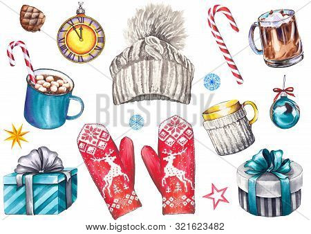 Christmas Set With Knitted Hat, Mittens, Cappuccino And Coffee Mugs, Gift Boxes, Clock, Balls, Candy