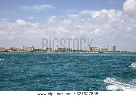 Looking At Palm Beach From Across The Caribbean Sea In Aruba