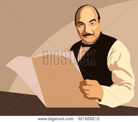 Humorous Picture Of Famous Detective. Vector Illustration.