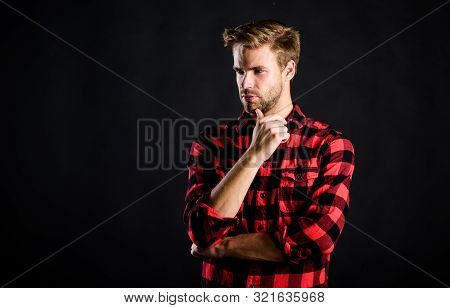 Handsome Well Groomed Man In Checkered Shirt. Manliness Concept. Meaning Of Modern Manliness. Male B