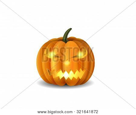 Scary Jack O Lantern Halloween Pumpkin With Candle Light Inside Isolated Vector