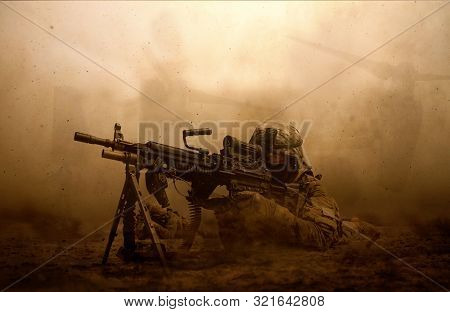 Military Troops And Helicopter In The Battlefield / Soldier Shooting At The Enemy