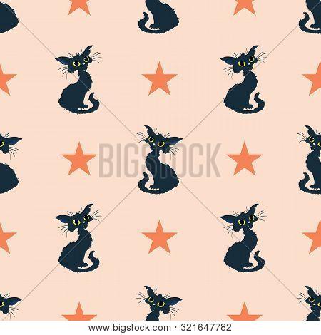 Black Cats Halloween Orange Vector Repeat Pattern.